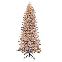 Puleo International 6.5' Pre-Lit Flock Slim Fraser Fir Christmas Tree
