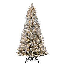 Puleo International 6.5' Pre-lit Flocked Vermont Pine Christmas Tree