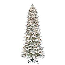 Puleo International 7.5' Lit Flocked Slim Spruce Artificial Tree