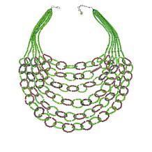 "Rara Avis by Iris Apfel 22"" Green and Purple Beaded Bib Necklace"