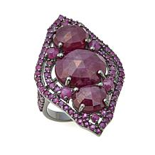 Rarities 15.04ctw Ruby Black Rhodium 3-Stone Shield Ring