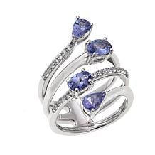 Rarities 1.85ctw Tanzanite and White Zircon 4-Row Ring