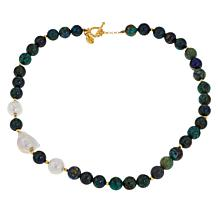 Rarities Azurite Malachite & Cultured Freshwater Pearl Beaded Necklace