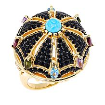 Rarities Black Spinel and Multi-Gemstone Domed Shield Ring