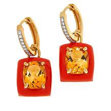Rarities Gemstone, White Zircon and Enamel Hugger Hoop Drop Earrings