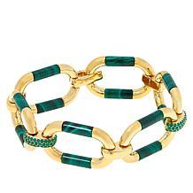 Rarities  Gold-Plated Gemstone Barrel and Pavé Link Bracelet