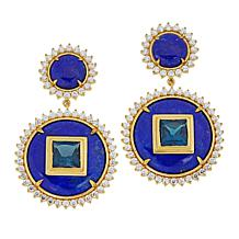 Rarities Gold-Plated Lapis and Multigem Disc Drop Earrings