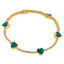 Rarities Gold-Plated Malachite and Zircon Heart Tennis Bracelet