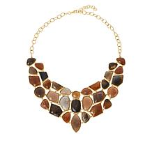 Rarities Gold-Plated Multi-Color Caramel Moonstone Necklace