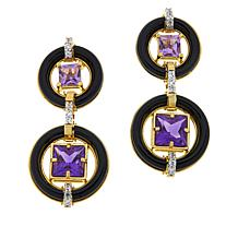 Rarities Gold-Plated Onyx, Zircon and Gemstone Drop Earrings