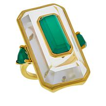 Rarities Gold-Plated Sterling Silver Rock Crystal Green Onyx Ring