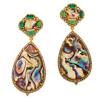 Rarities Goldtone Agate, Topaz and Abalone Doublet Drop Earrings