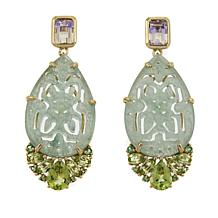Rarities Green Aventurine and Multigemstone Drop Gold-Plated Earrings
