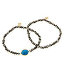 Rarities Pyrite Bead and Gemstone Stretch Bracelet - Set of 2