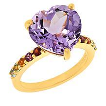 Rarities Rose de France Amethyst and Rainbow Gemstones Heart Ring