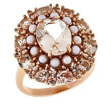 Rarities Rose Gold-Plated Cultured Pearl, Morganite and Zircon Ring