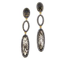 Rarities Tourmalinated Quartz & White Zircon Elongated Dangle Earrings