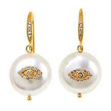 Rarities White Topaz and Pearl Evil Eye Drop Gold-Plated Earrings