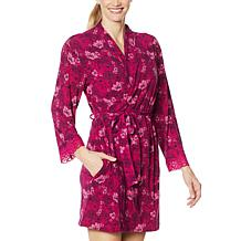 Rhonda Shear Tie-Front Printed Short Robe with Lace
