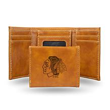 Rico Laser-Engraved Brown Tri-fold Wallet - Blackhawks