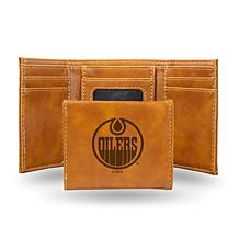 Rico Laser-Engraved Brown Tri-fold Wallet - Oilers