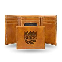 Rico Laser-Engraved Brown Tri-fold Wallet - Sacramento Kings