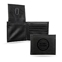 Rico NBA Laser-Engraved Black Billfold Wallet - Pistons