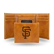 Rico San Francisco Giants Laser-Engraved Brown Trifold Wallet