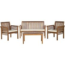 Safavieh Carson 4-piece Outdoor Living Set-Brown-Beige