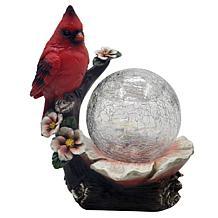 Santa's Workshop Resin Cardinal with Glass Gazing Ball