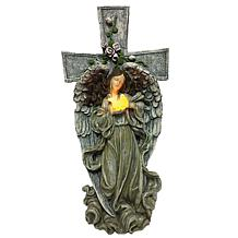 Santa's Workshop Solar-Powered Angel and Cross Statue