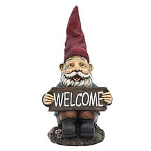 Santa's Workshop Welcome Sign Gnome Statue