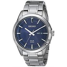 Seiko Men's Blue Dial Solar Bracelet Watch
