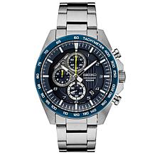 Seiko Men's Stainless Steel Blue Dial Chronograph Sports Watch