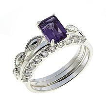 Sevilla Silver™ Amethyst and White Topaz 3-piece Ring Set