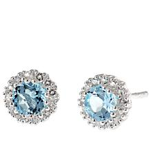 Sevilla Silver™ Round Sky Blue Topaz and White Topaz Stud Earrings