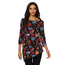 Slinky® Brand 2-piece 3/4-Sleeve Printed Angled Tunic and Pant