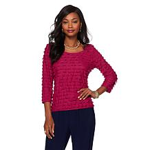 Slinky® Brand 3/4-Sleeve Ruffle-Knit Scoop-Neck Top