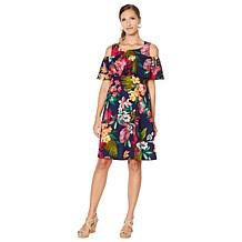 Slinky® Brand Printed Fit-&-Flare Dress with Ruffle Overlay