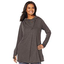 Soft & Cozy Brushed Jersey Hooded Wrap with Button Closure