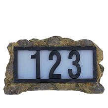 Solar Powered Illuminated LED House Number Rock Display