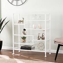 Southern Enterprises Dina Metal/Glass Asymmetrical Etagere - White