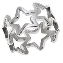 Stately Steel Open Star Band Ring
