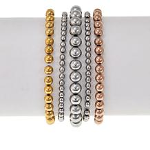 Stately Steel Set of 5 Beaded Stretch Bracelets
