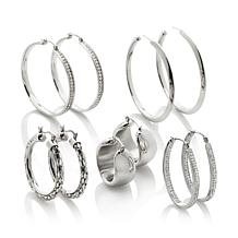 Stately Steel Set of 5 Hoop Earrings