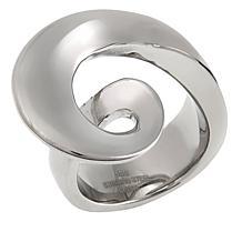 Stately Steel Swirl-Design Ring