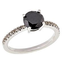 Sterling Silver 1.32ctw Black and White Diamond Solitaire Ring
