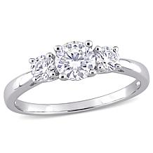 Sterling Silver 1ctw Created Moissanite 3-Stone Engagement Ring