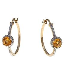 Technibond® 1.32ctw Citrine Diamond-Accented Hoops