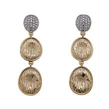 Technibond® Diamond-Accented Brushed Drop Earrings